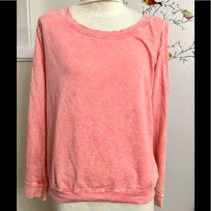 Painted Thread Cold Shoulder Peach Sweater Sz. S
